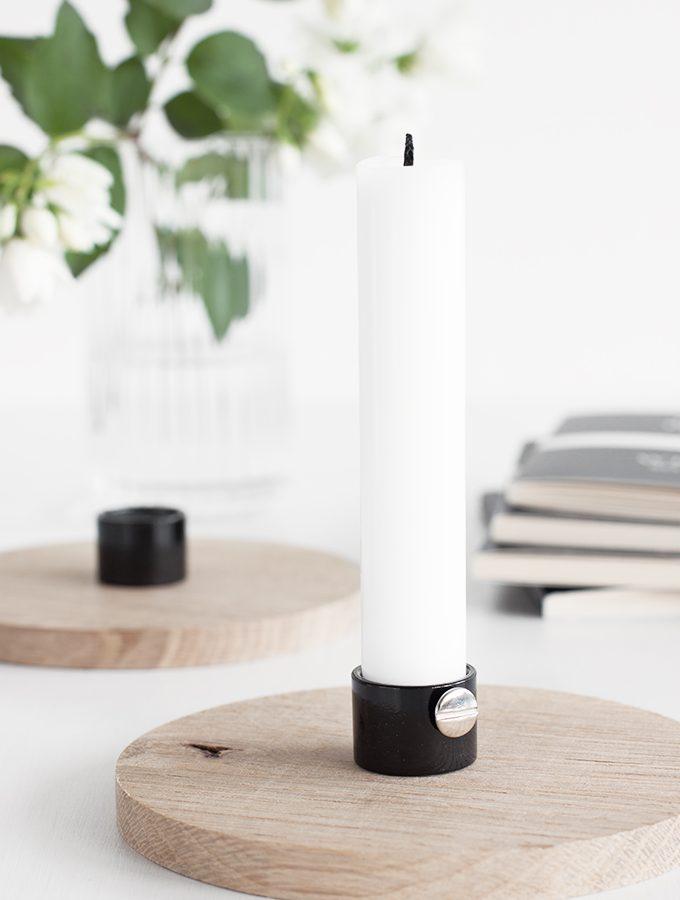 Kerzenständer aus Holzscheibe