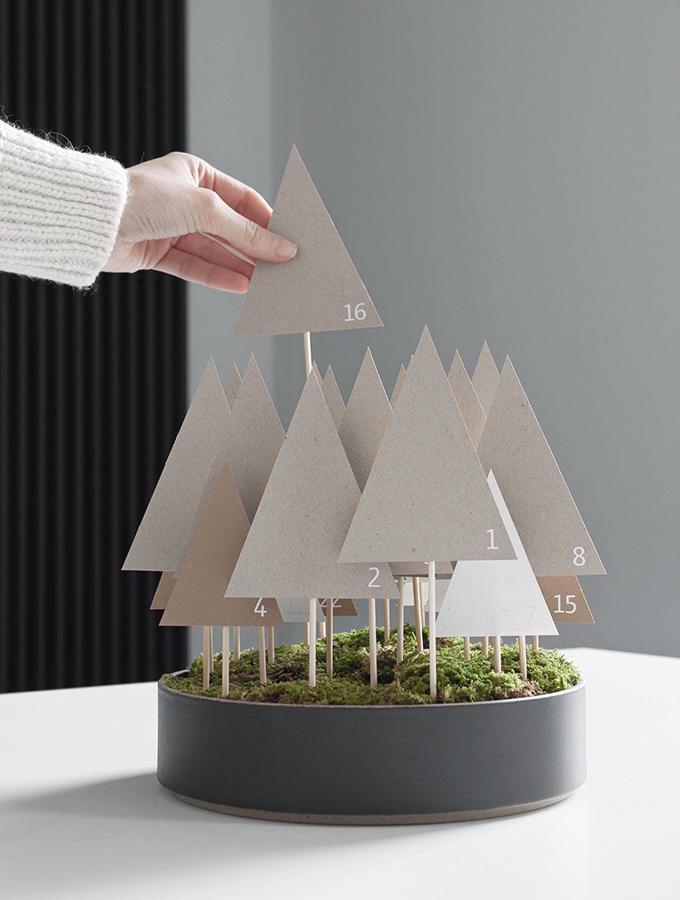 Adventskalender aus Papierbäumen