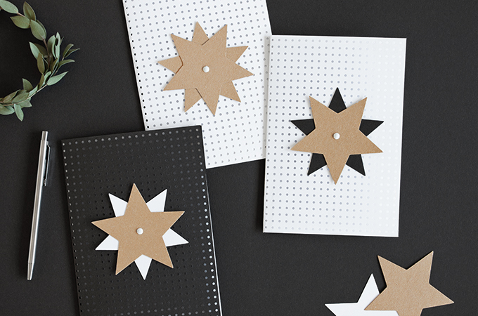 Weihnachtskarten mit Papiersternen