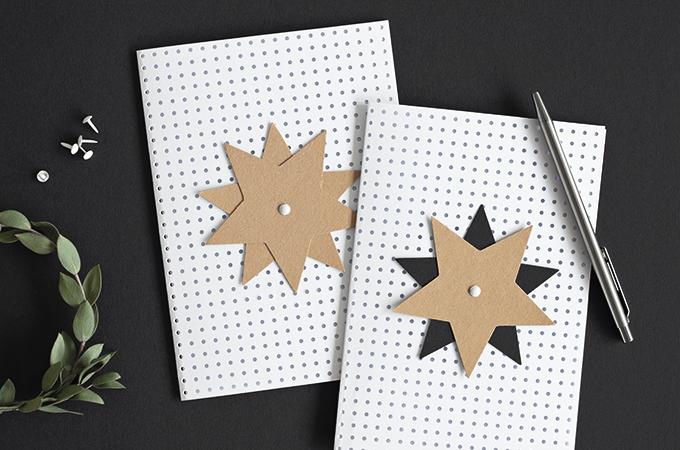 Weihnachtskarten aus weißem Lochkarton