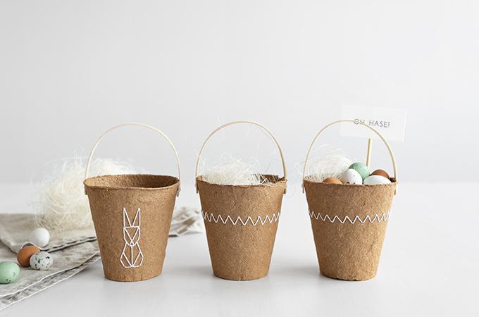 DIY Osterkörbchen aus Anzuchttöpfen
