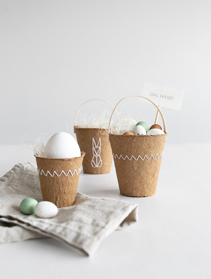 DIY Natürliches Osterkörbchen aus Anzuchttöpfen